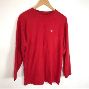 Champion Men's Red Long Sleeve Shirt Size Large